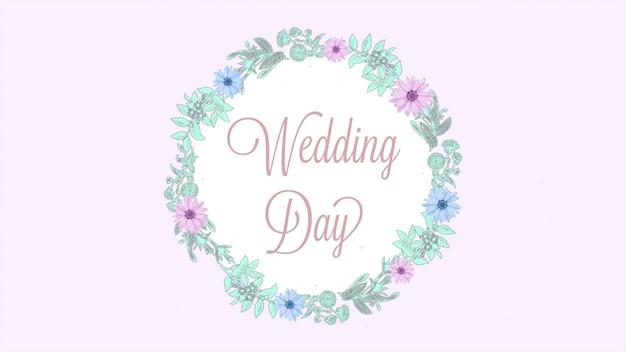 Primo piano del testo del giorno del matrimonio e cerchio retrò di fiori estivi, sfondo del matrimonio