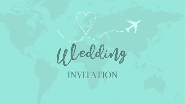 Primo piano del testo dell'invito al matrimonio e volo dell'aeroplano sulla mappa del mondo, sfondo di viaggio