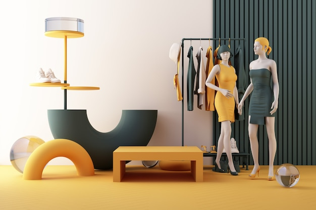 Manichini un appendiabiti circondato da borsa e puntello di mercato con forma geometrica sul pavimento in colore giallo e verde. rendering 3d