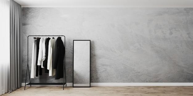 Appendiabiti con specchio da terra in cornice nera all'interno della camera vicino alla finestra, muro grigio e pavimento in legno, appendiabiti, parete vuota, rendering 3d