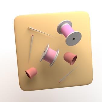 Icona del design di abbigliamento con fili per cucire isolati su priorità bassa bianca. app. illustrazione 3d.