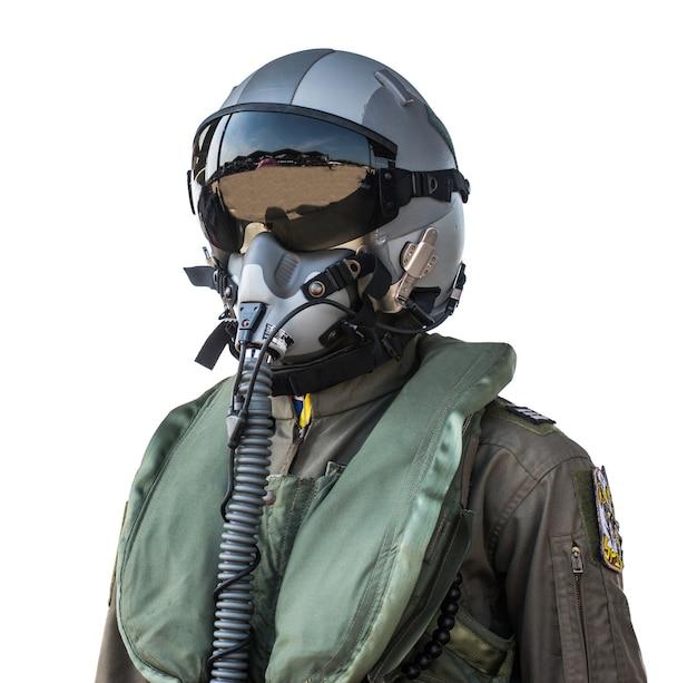 Abbigliamento per piloti o piloti vestito su sfondo bianco