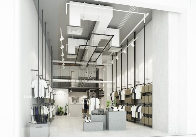 Il negozio di abbigliamento nel grande magazzino mostra i vestiti all'interno del negozio e decora il negozio in stile loft con un sacco di rendering 3d di t-shirt