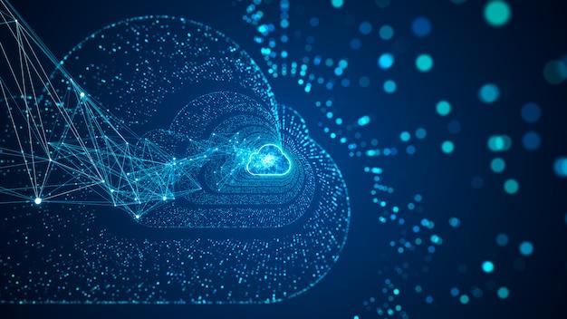 Il cloud computing e il concetto di big data. connettività 5g di dati digitali e informazioni futuristiche. internet ad alta velocità astratto delle cose iot big data cloud computing.