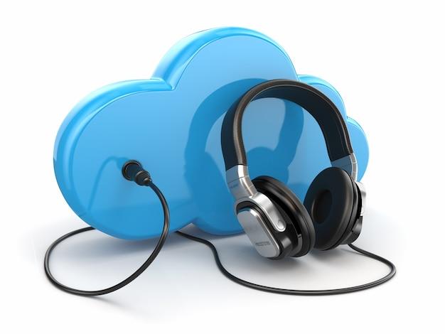 Concetto multimediale di cloud computing. cuffie e nuvole su sfondo bianco. 3d
