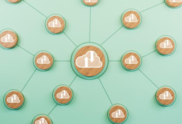 Schermo di stampa del segno di cloud computing sul cerchio in legno con connessione per il collegamento tecnologico e condivisione di informazioni tramite rendering 3d.