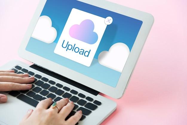 Concetto dell'icona di archiviazione cloud computing
