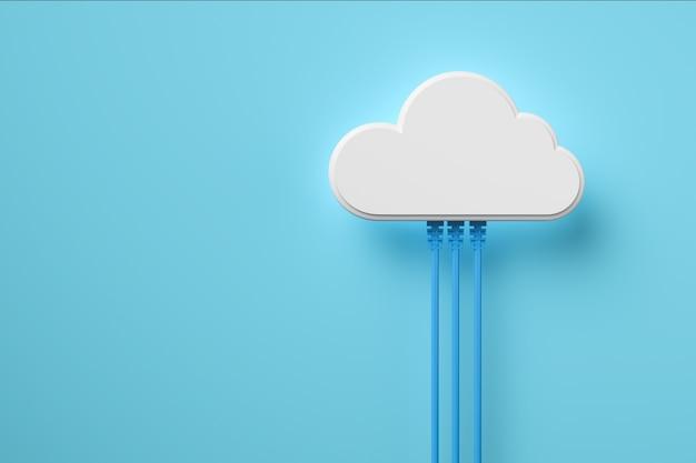 Il fondo di concetto di tecnologia di cloud computing, nuvola bianca si collega con il cavo di rete, rendering 3d.