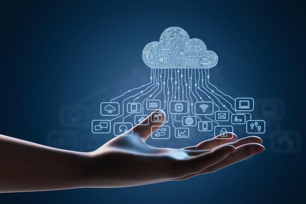 Concetto di tecnologia di cloud computing con la mano con display grafico