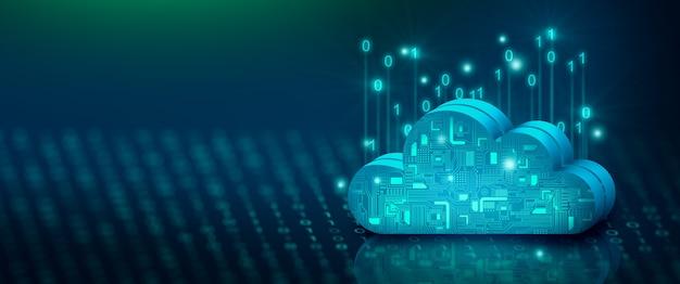 Tecnologia di cloud computing internet su codice binario cloud service cloud storage concept