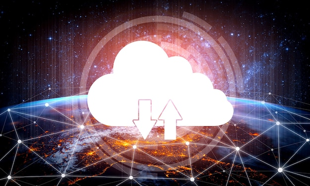 Tecnologia di cloud computing e archiviazione dei dati online per il concetto di rete aziendale.