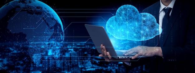 Tecnologia di cloud computing e archiviazione di dati online per il concetto di rete aziendale.