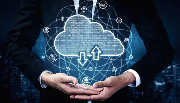 Tecnologia di cloud computing e archiviazione dei dati online per il concetto di rete aziendale