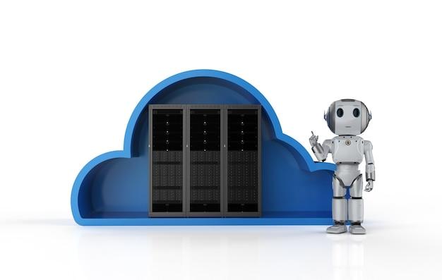 Tecnologia di cloud computing con server di rendering 3d in cloud e robot amichevole