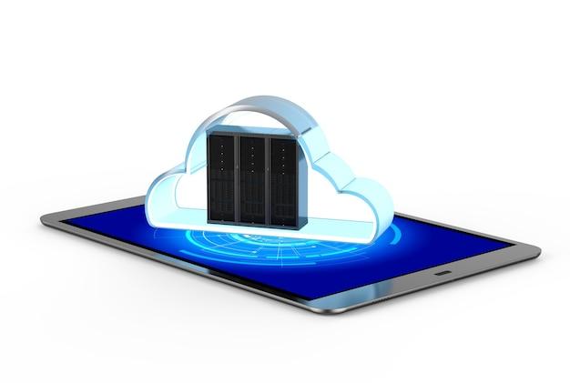 Tecnologia di cloud computing con server di rendering 3d con cloud