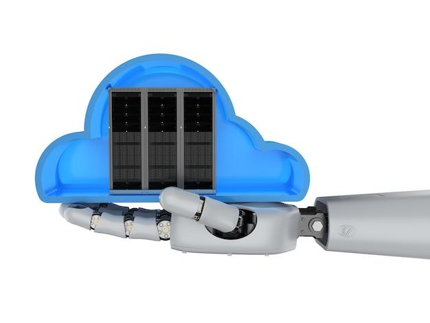 Tecnologia di cloud computing con server in cloud con mano robotica