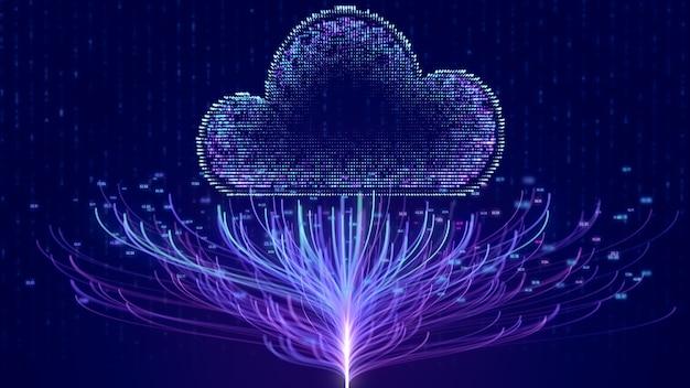 Tecnologia di rete internet cloud con connessione ad albero del nodo numero big data, priorità bassa di concetto di cloud computing online digitale