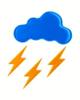 Cloud e fulmini su sfondo bianco. illustrazione 3d isolata