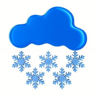 Nuvola e fiocco di neve su sfondo bianco. illustrazione 3d isolata