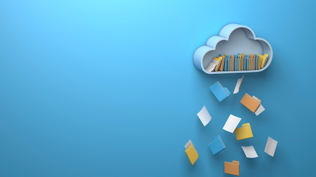 Archiviazione cloud. una nuvola di file e cartelle che cade come pioggia. copia spazio per il testo. rendering 3d.