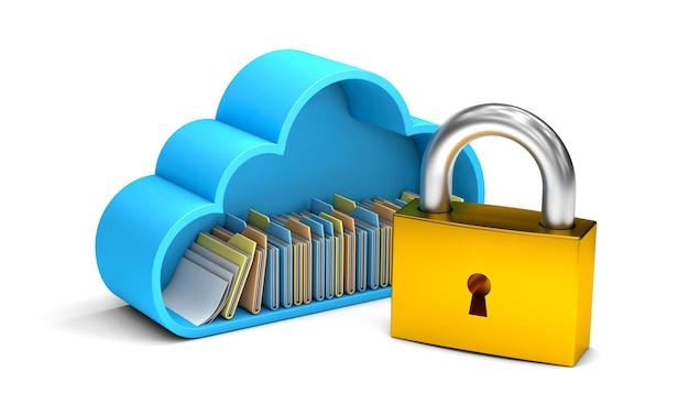 Il cloud storage è chiuso file personali protetti e informazioni isolate su sfondo bianco