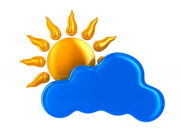 Nuvola e sole su sfondo bianco. illustrazione 3d isolata