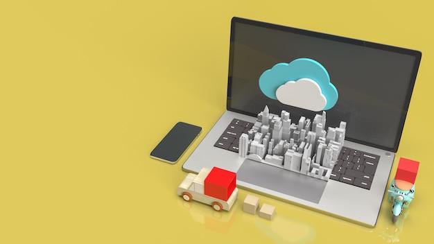 Il cloud e le apparecchiature tecnologiche per il rendering 3d dei contenuti di cloud computing.
