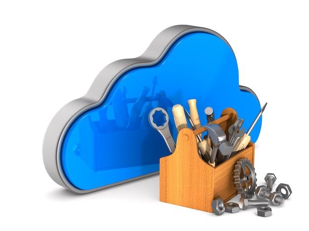 Cloud e cassetta degli attrezzi su sfondo bianco. illustrazione 3d isolata
