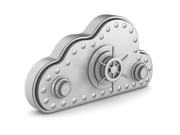Cloud con serratura isolato su bianco. 3d'illustrazione Foto Premium