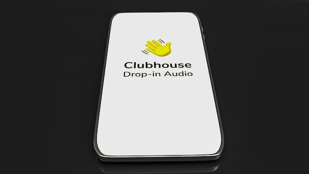 App clubhouse per il rilascio dell'applicazione di chat audio sul rendering 3d dello smartphone