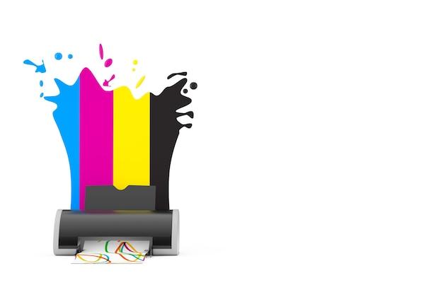 Colori cmyk dietro la stampante a getto d'inchiostro digitale su sfondo bianco. rendering 3d