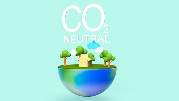 Testo e terra neutri di co2 per il rendering 3d del concetto di ecologia
