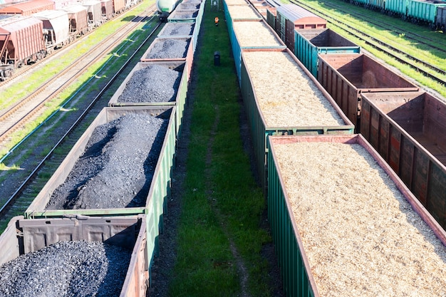 Carri a carbone, trucioli di legno e segatura sul treno. il riscaldamento globale. produzione di energia. Foto Premium