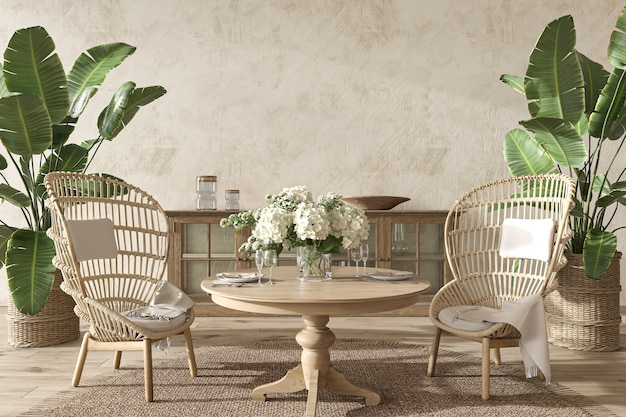 Sala da pranzo dal design costiero con piante di palma in un accogliente sfondo di interni in stile hampton