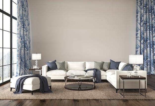Soggiorno di design costiero in un accogliente sfondo interno di casa hampton style 3d render illustration