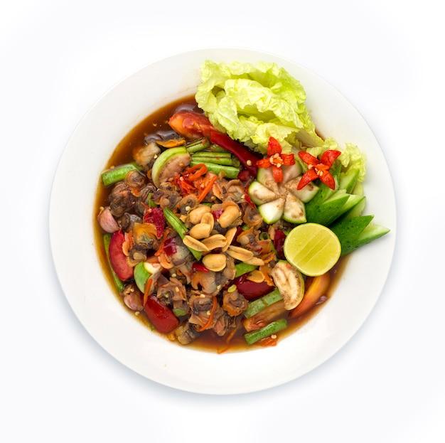 Insalata piccante dei cuori edule in salsa di pesce marinata alimento tailandese piccante