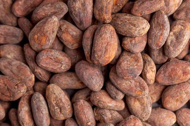 Fave di cacao nel prodotto di cacao full frame