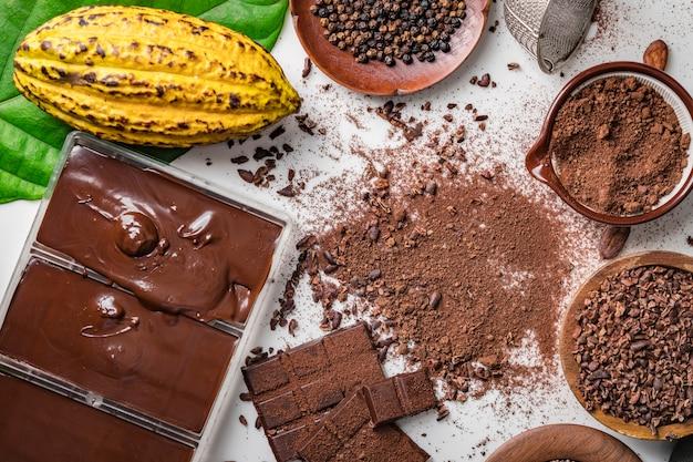 Baccelli di fave di cacao, pezzi di barretta di cioccolato, cacao in polvere