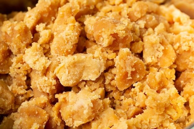 Zucchero di cocco con immagine ravvicinata.