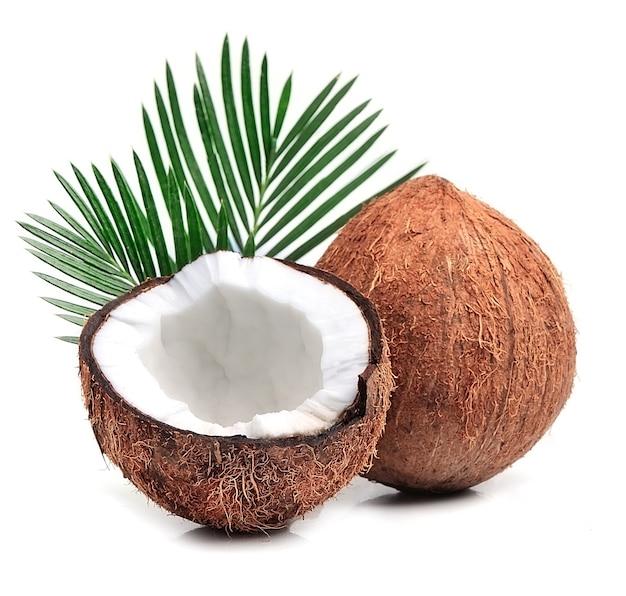 Noci di cocco con foglie
