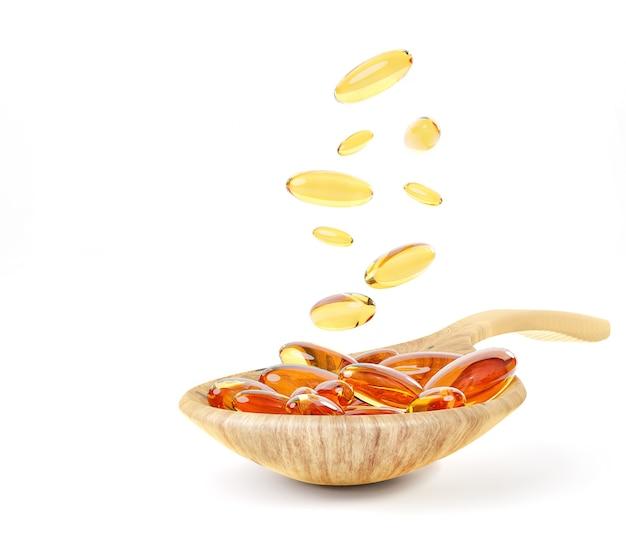 Olio di fegato di merluzzo omega 3 isolati su sfondo bianco