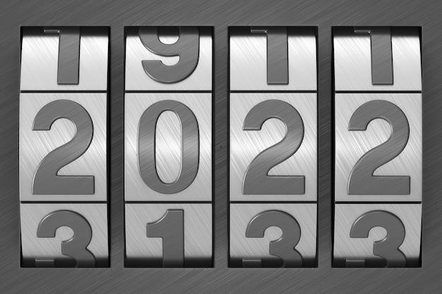 Serratura codificata. 2022 anno. illustrazione 3d