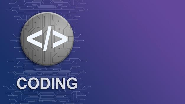 Icona di codifica con scritte su sfondo sfumato di tecnologia con elementi di circuito 3d