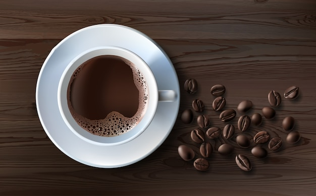 Sfondo caffè vista dall'alto con spazio copia tazza bianca di caffè macinato caffè in grani