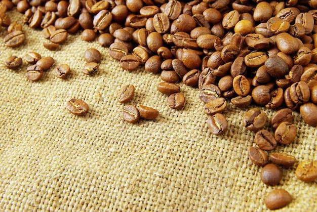 Chicchi di caffè su sfondo di tela