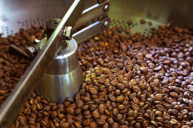 Chicchi di caffè nelle macchine per la torrefazione del caffè Foto Premium