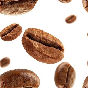 Chicchi di caffè su uno sfondo bianco senza soluzione di continuità.