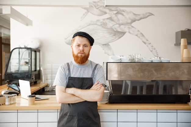 Caffè business proprietario concetto - ritratto di felice giovane barbuto barista caucasico in grembiule con fiducioso guardando la fotocamera nel bancone del caffè.