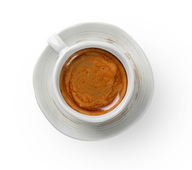 Tazza di caffè ceramiche artigianali vista dall'alto isolato su sfondo bianco isolato con tracciato di ritaglio.