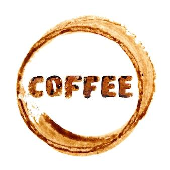 Macchia e scritte sulla tazza di caffè